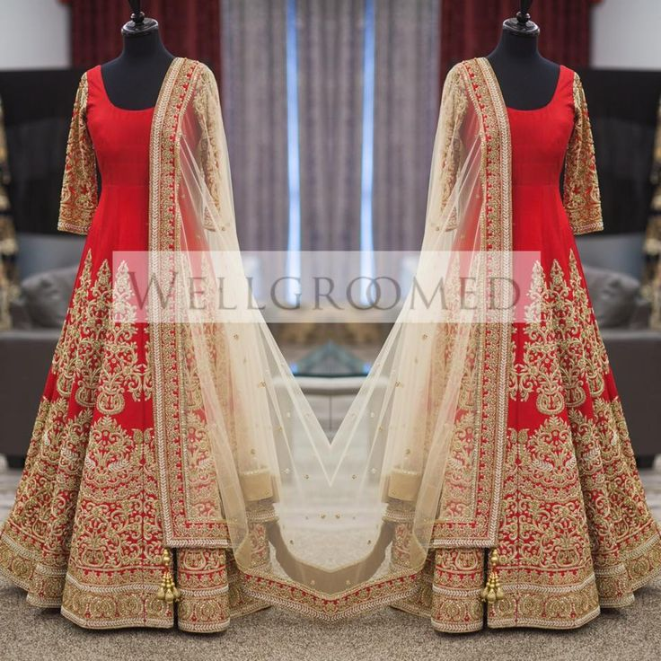 The details in this gorgeous red #anarkali are absolutely #breathtaking Check out Wellgroomed Designs Inc