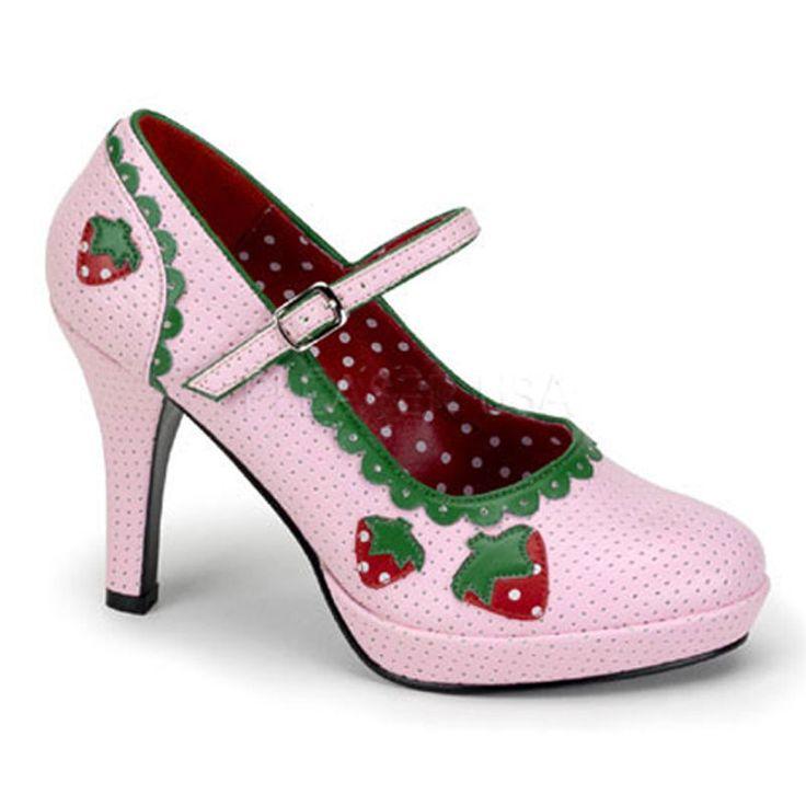 Super süße Frucht Damen Riemchenpumps Pink mit LECKEREN ERDBEEREN Gr 36-43 (ESH