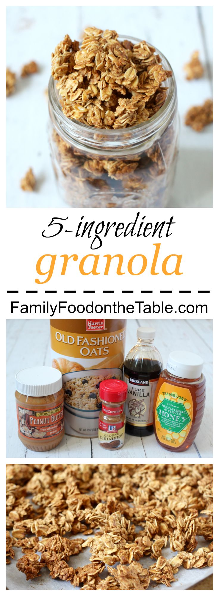 An easy, light homemade granola with just 5 ingredients! | FamilyFoodontheTable.com