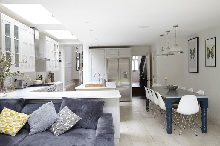 Transitional Dining Room by Blakes London; love the clean lines/ white on white