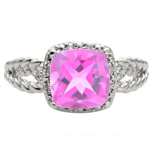 Cushion Cut Pink Sapphire June Gemstone White Gold Diamond Braided Ring Available Exclusively at Gemologica.com