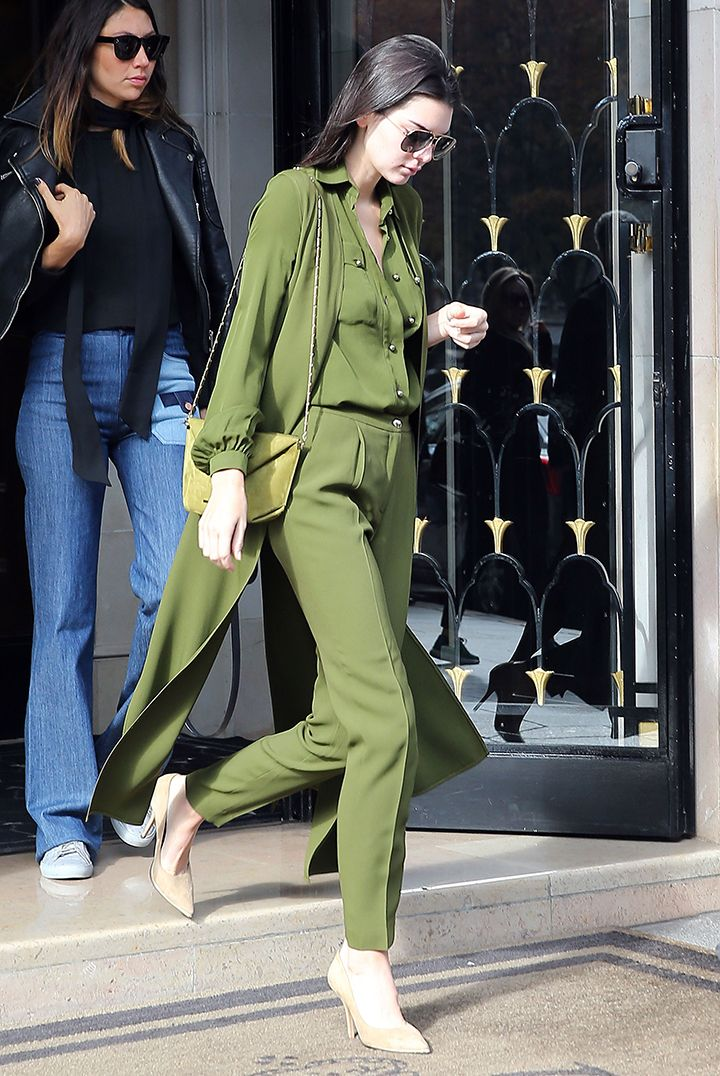 Kendall Jenner's monochrome, layered trench coat