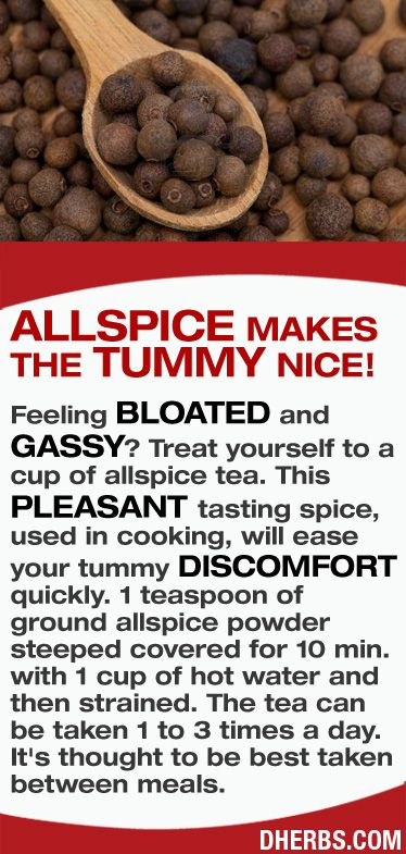 Feeling bloated and gassy? Treat yourself to a cup of allspice tea. This pleasant tasting spice, used in cooking, will ease your tummy discomfort quickly. #dherbs #healthtips