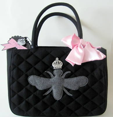 My Flat in London quilted wool w/grey bee... love these purses!