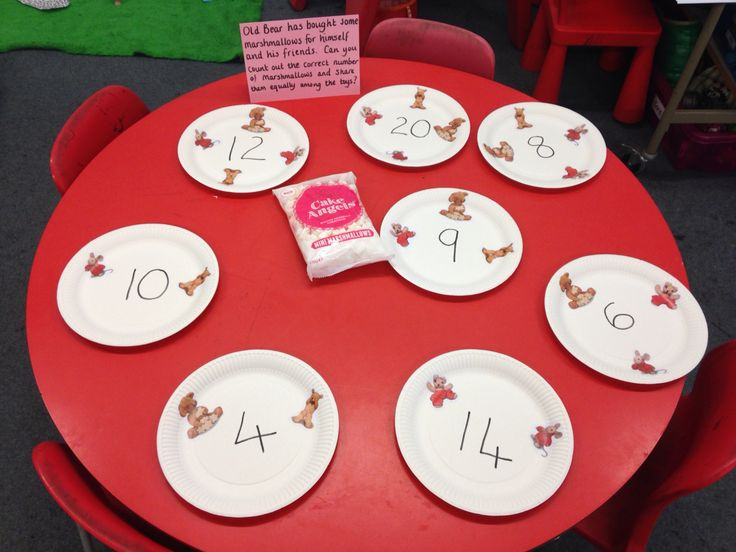 Old Bear Sharing Activity Count Out Number Of Marshmallows And Share Equally Amongst Old Bear And Friends Sharing Maths Activities Maths Eyfs Reception Maths