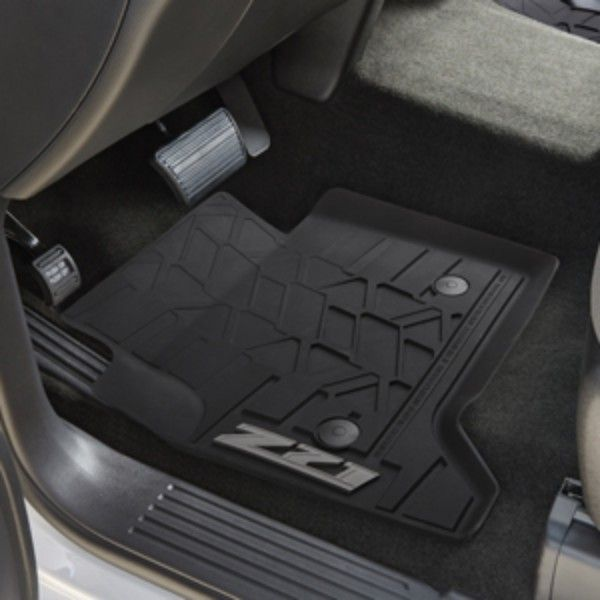 2016 #Silverado 1500 Front Floor Mats, Premium All Weather, Black, Z71: These precision-designed Premium All-Weather Front Floor Mats fit the front row exactly. The deep-ribbed pattern collects rain, mud, snow and other debris for easy cleaning. Nibs on the back help keep them in place.