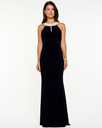Gem Embellished Halter Gown, Le Chateau, Kingsway Mall