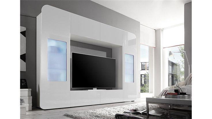 Mediawand KINO 2 Wohnwand weiß Hochglanz TV bis 60 Zoll