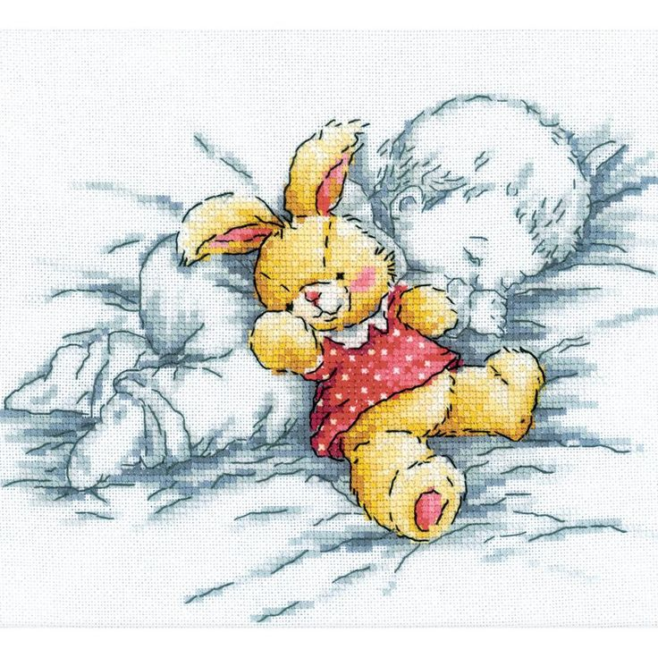 """Baby W/Rabbit Counted Cross Stitch Kit-8""""X7.125"""" 14 Count"""