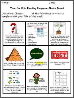The Organized Chaos Of Instruction: Non-Fiction Reading Response Choice Board