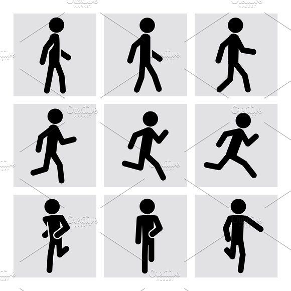 Walking And Running People Icons People Icon Human Icon Walking Animation