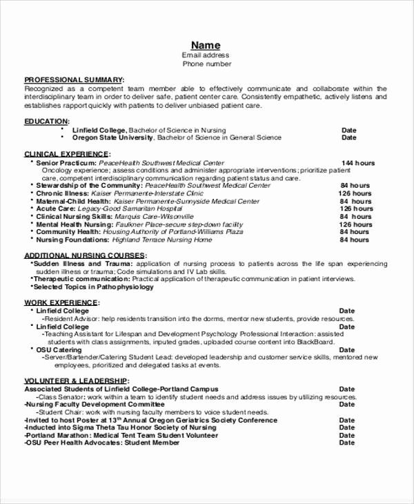 Nursing Student Resume Template Word Luxury Sample Student Nurse