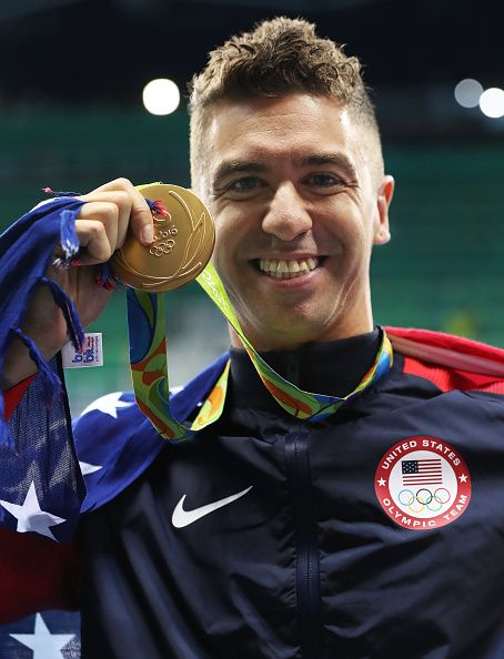 #RIO2016 Anthony Ervin of United States poses with his Gold medal from the Men's 50m Freestyle on Day 7 of the Rio 2016 Olympic Games at the Olympic Aquatics...