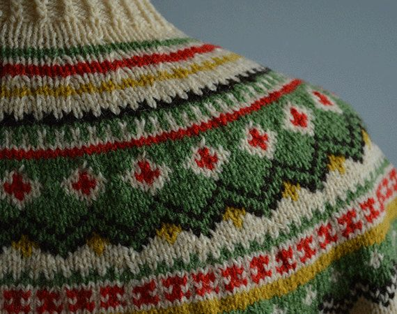 Vintage Nordic Wool Cardigan / 50s Hand Knit Fair от zestvintage