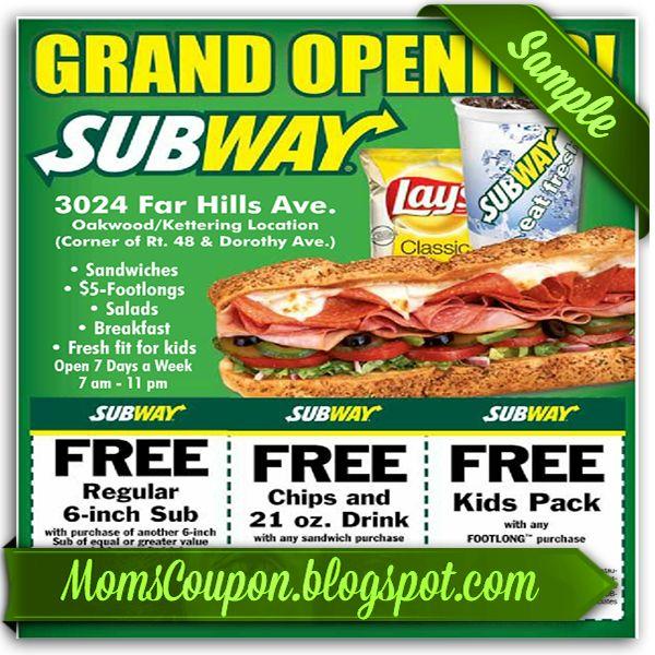 printable Subway coupons 20 for January