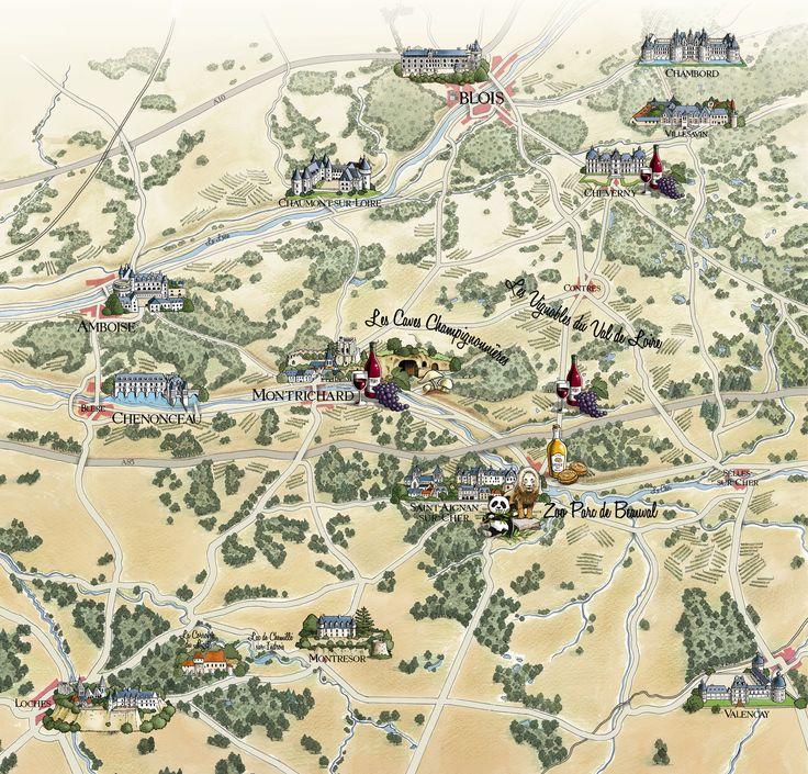 Plan à l'ancienne de la vallée du Cher dans le Val de Loire