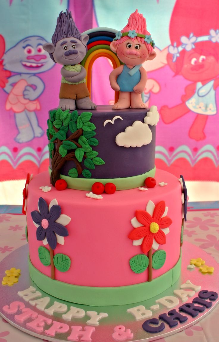 Trolls themed cake for Steph and Chris :)