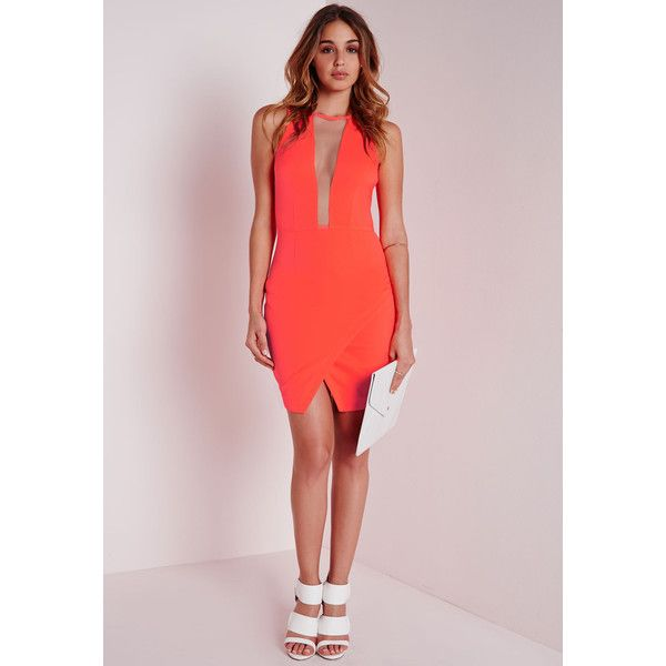 Orange fuchsia color-block bodycon dress