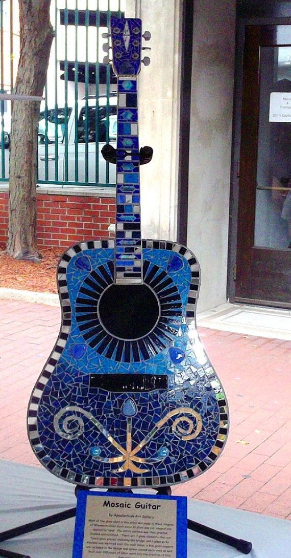 Mosaic Guitar with Fused Glass Bridge and Picks. by stainedglasswv