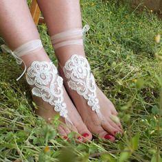 Ivoire pearl mariage de plage sandales aux pieds nus | See more about Boutiques and Html.