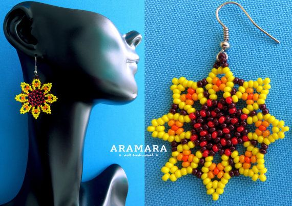 Corte de mexicana Huichol cuentas amarillo flor por Aramara en Etsy