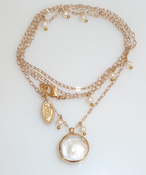 Lunga collana di perle gioielli di nozze June di inbalmishan