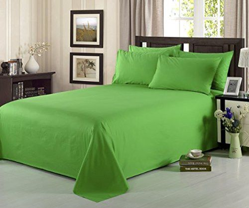 Tache 3-4 Piece 100% Cotton Solid Lime Green Bed Sheet Set
