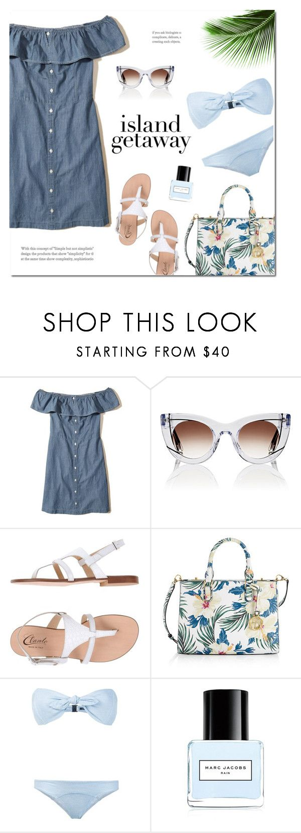 """""""Chic Island Getaway"""" by catchsomeraes ❤ liked on Polyvore featuring Hollister Co., Thierry Lasry, Clanto, Henri Bendel, Lisa Marie Fernandez, Marc Jacobs, tropical, sandals, beach and offshoulderdress"""