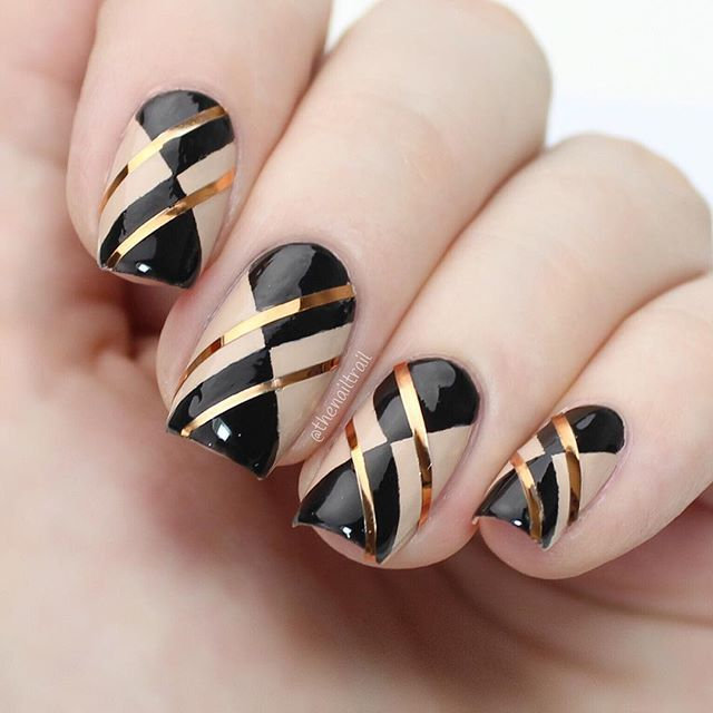 WEBSTA @ thenailtrail - Black, nude and gold argyle print ✖️✖️