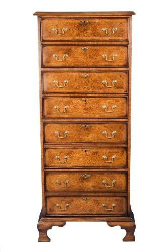 English Antique Style Vertical Four Drawer Walnut File Cabinet By Classics 226000