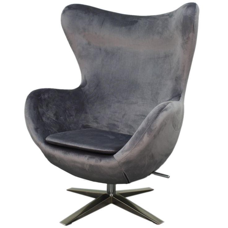 Max Fabric Swivel Rocker Chair Chrome Legs, Shadow Gray/453043-SY-CH