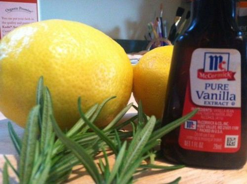 Love the smell of Pottery Barn? Me too! Grab some lemon juice, vanilla extract, and rosemary to ensure that you give your guests the BEST first impression upon entering your house!