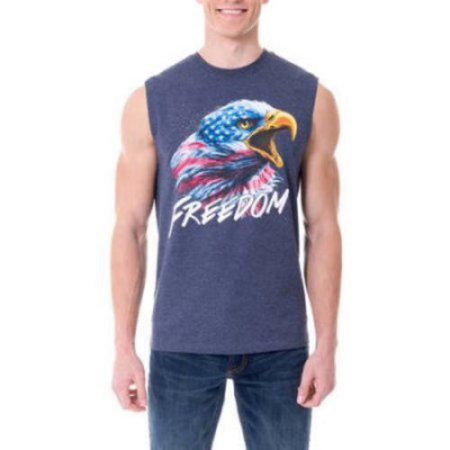 Faded Glory Big Men's Americana Graphic Tank Top, Size: 3XL, Blue