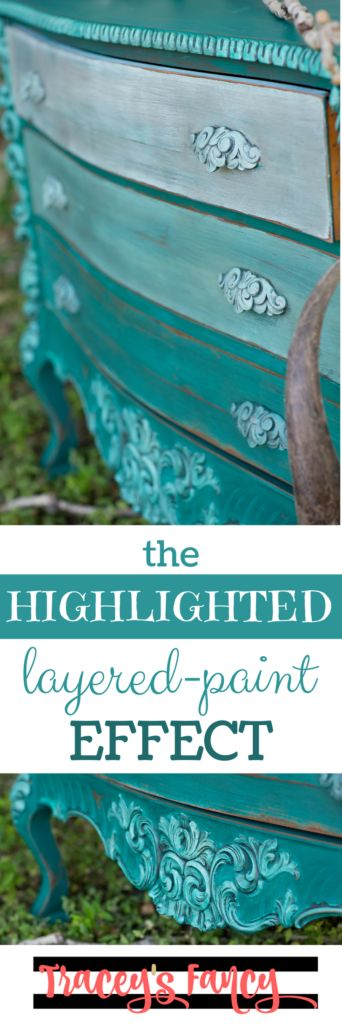 Painted Teal Dresser with Ombre Drawersin Heirloom Tradition's blues | How to get the highlighted layered-paint effect when painting furniture | Furniture Painting tips by Tracey's Fancy