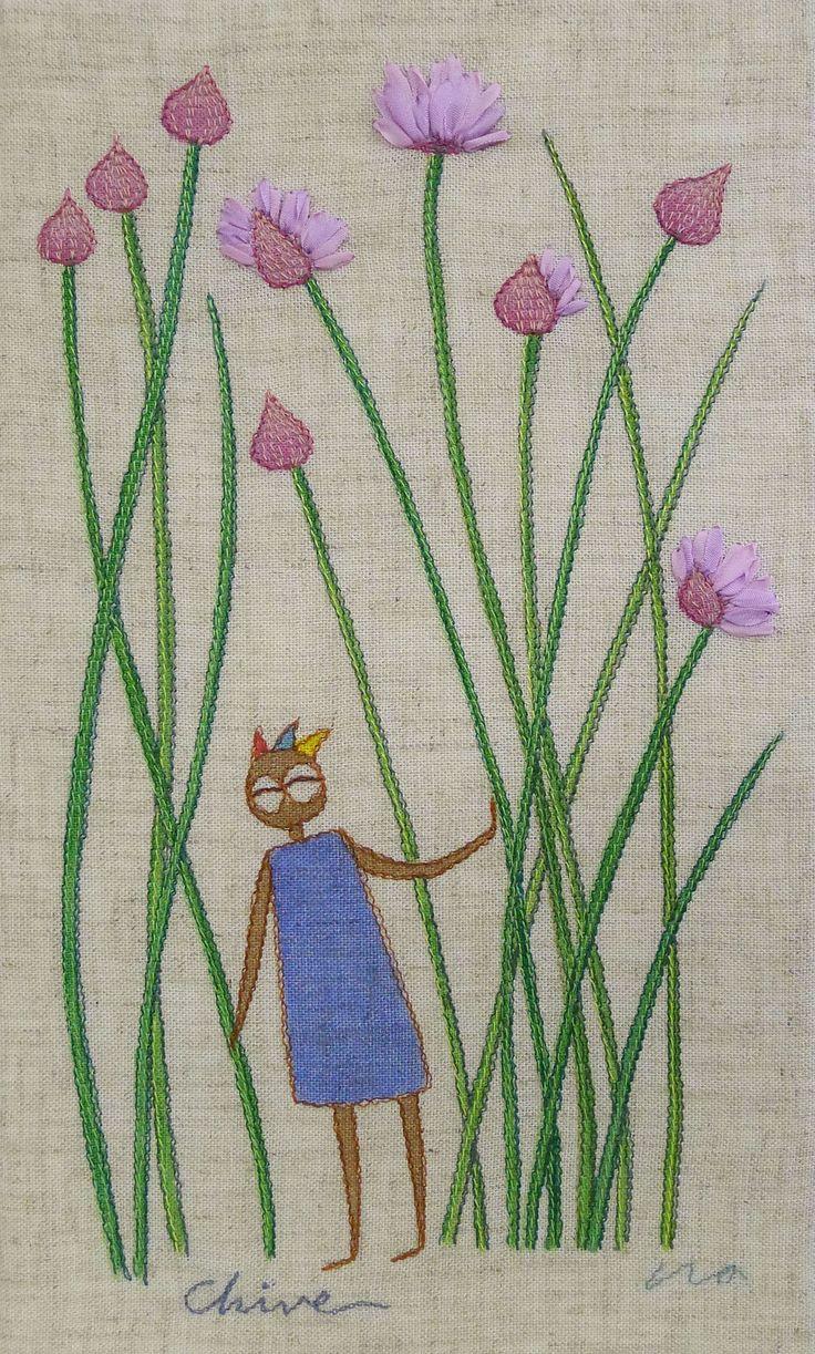 """herb no.1 """"chive"""" needlework illustration Ⓒ Nagako Ono HAPPa_Ya #embroidery #herbs"""