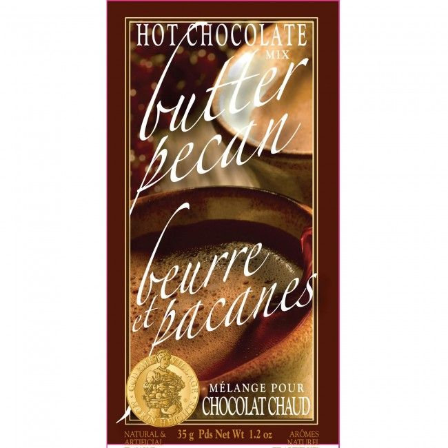 A single serve pouch of hot chocolate (35g/1.2oz) which is convenient and easy to use. Just mix with hot water for a perfect rich and creamy hot chocolate with the taste of butter pecan.