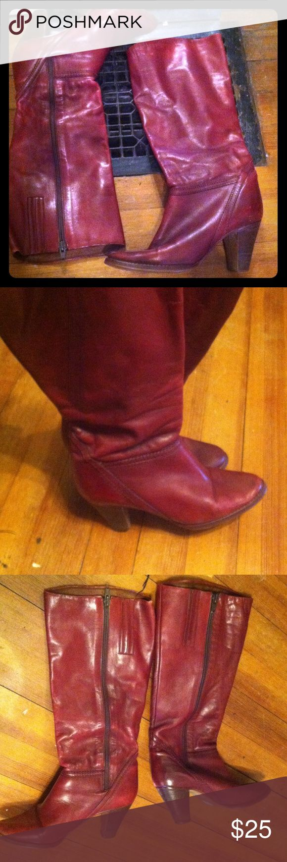 Maroon/wine red leather boots Made in Brazil dark red leather boots size 6-6.5 Shoes Heeled Boots