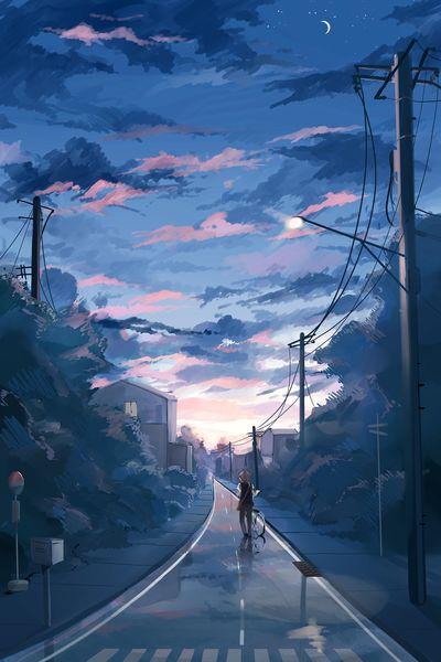 黄昏時、町、車道