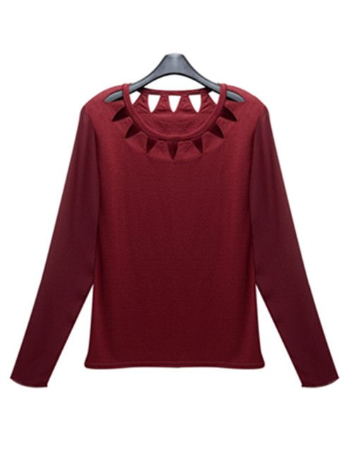 Wine red triangle cut out neck t shirt with chiffon sleeve for Red wine out of white shirt
