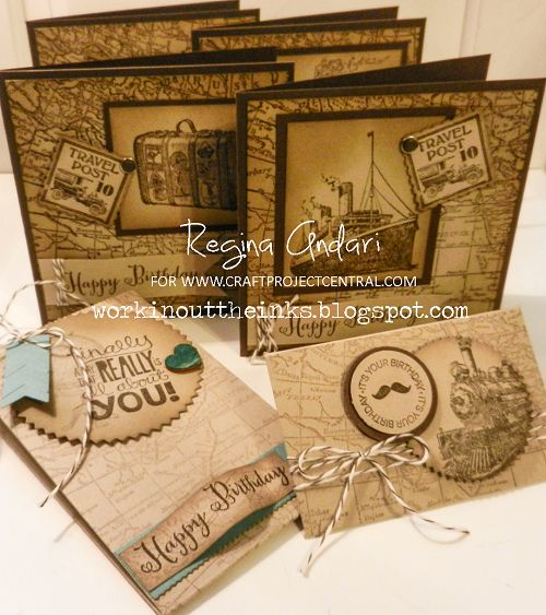 """Masculine ensemble designed for Craft Project Central featuring Stampin' Up!'s brand new """"Traveler"""" stamp set."""