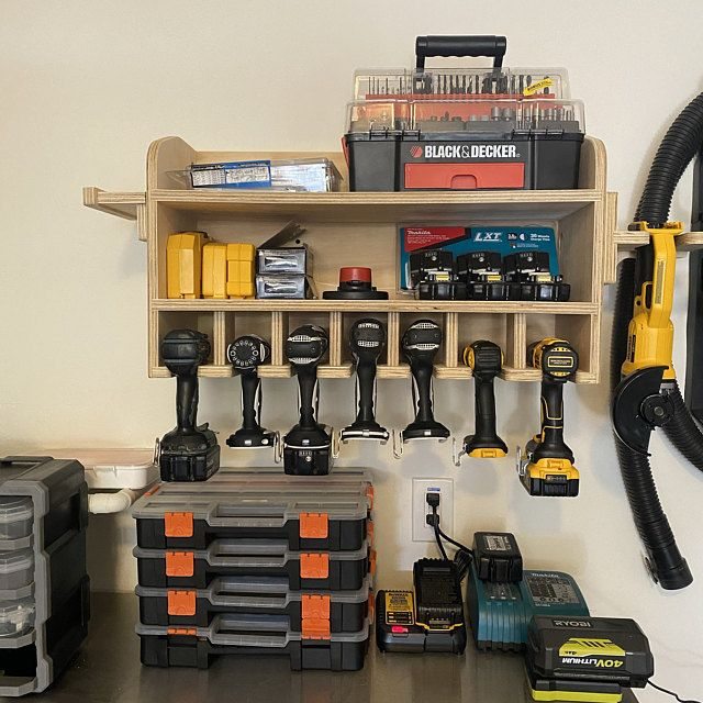 Cnc Made Cordless Drill Organizer Wall Mounted Cordless Tool Holder Power Tool Storage Tool Storage Gift Garage Tool Storage In 2020 Power Tool Storage Garage Tool Storage Cordless Tools