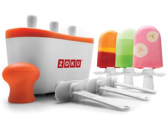 The patented Zoku Quick Pop™ Maker freezes ice pops in as little as seven minutes right on your countertop without electricity. Quickly make striped pops, yogurt pops or (for the first time ever at home) flavored core pops.