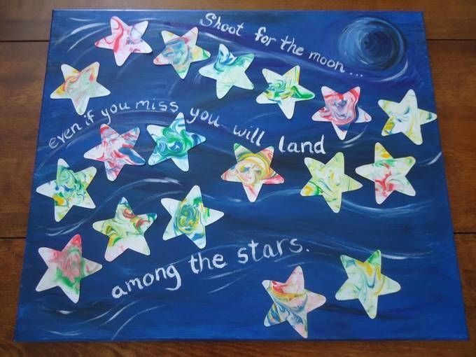 "preschool auction artwork | ... art featuring the quote, ""Shoot for the moon, even if you miss you"