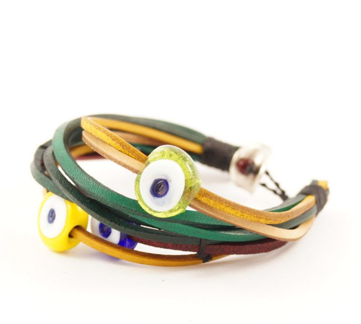 Multi Strand Leather Bangles with Evil Eye Charms, Multi Colour Leather Bracelet with Turkish Evil Eye Charms, Yellow, Green, Blue Evil Eyes by AnatolianBliss on Etsy