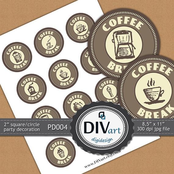 PRINTABLE Party Decoration  PD004  2 squares/circles  by DIVart, $3.00