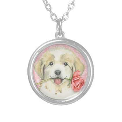 Valentine Rose Great Pyrenees Silver Plated Necklace - valentines day gifts gift idea diy customize special couple love