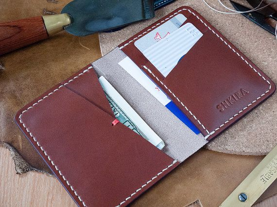 Bifold Wallet Almond Veg Tan Leather by SHKIRA on Etsy
