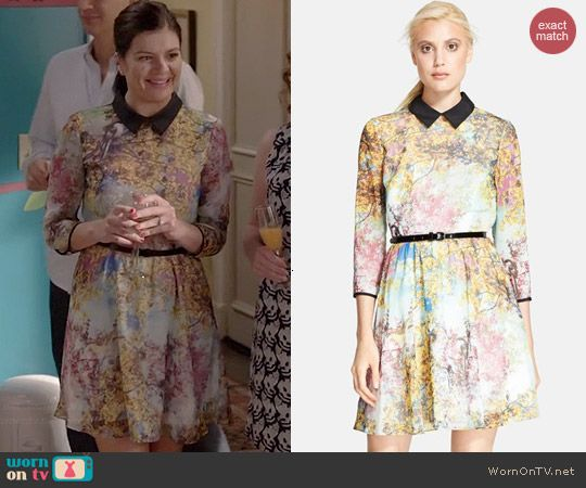 Annie's collared tree print dress on Marry Me.  Outfit Details: http://wornontv.net/43196/ #MarryMe