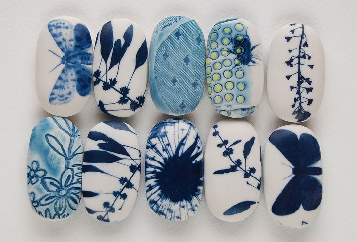 Blue and white painted stones