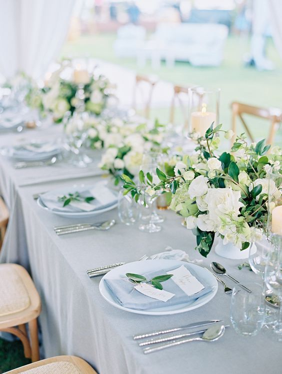 Dusty blue wedding reception decor idea